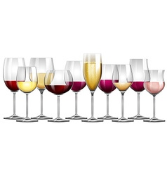 Wine glasses filled with red and white wine vector