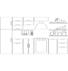 Outline kitchen silhouette vector