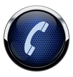 Blue honeycomb phone icon vector image