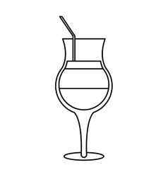 Summer cocktail glass alcohol outline vector