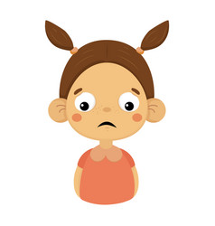 Disappointed little girl flat cartoon portrait vector