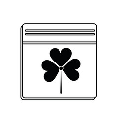 st patricks day calendar clover icon thin line vector image