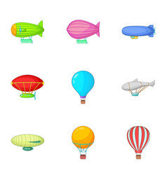 Types of airship icons set cartoon style vector