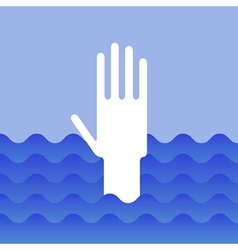 Hand of drowning man vector