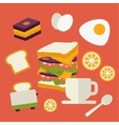 Icons set with fresh breakfast food and vector