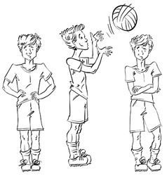 Set of full-length hand-drawn caucasian teens vector