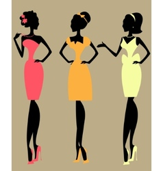 Pretty fashionable women vector image