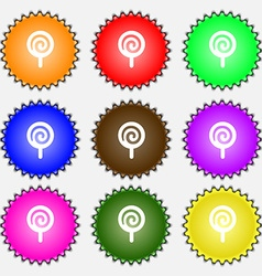 Candy icon sign a set of nine different colored vector