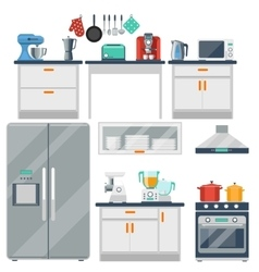 Flat kitchen with cooking tools equipment vector