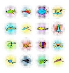 Aviation icons set comics style vector
