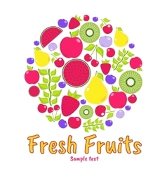 Flat elements for design fruits berries vector