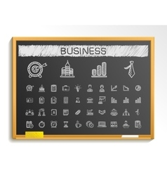 Business hand drawing line icons doodle vector