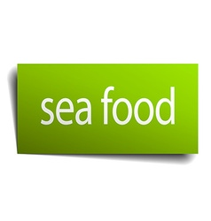 Sea food square paper sign isolated on white vector