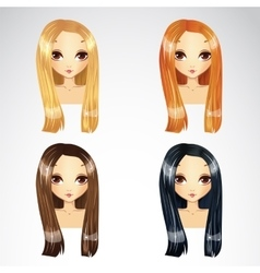 Set of long hair styling vector