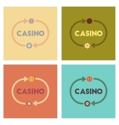 Assembly flat icons poker casino chips vector