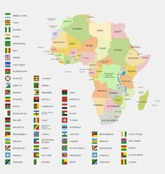 Africa flags and map vector