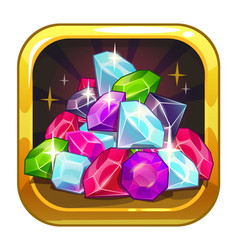 App icon with colorful shiny jewels vector
