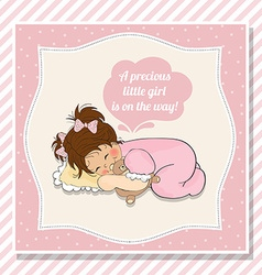 baby girl shower card with little girl vector image