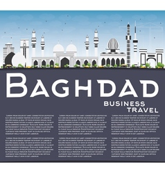 Baghdad skyline with gray buildings blue sky vector