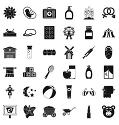Bathing icons set simple style vector