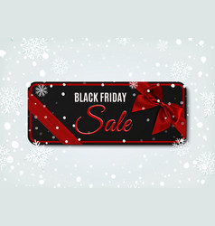 black friday sale banner with red ribbon and bow vector image vector image