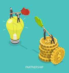 Business partnership flat isometric vector