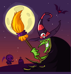 cartoon old witch in hat with a broom vector image vector image