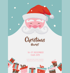 Christmas market poster with santa and presents vector