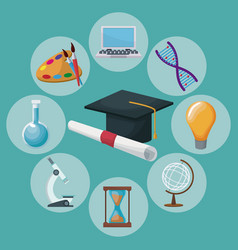 color background graduation cap and certificate vector image
