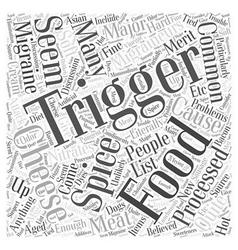 Common migraine food triggers word cloud concept vector