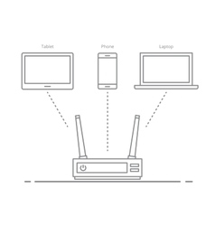 Concept of the work of the router in the office or vector image