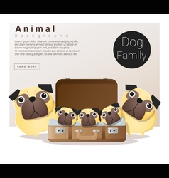 Cute animal family background with Dogs vector image vector image