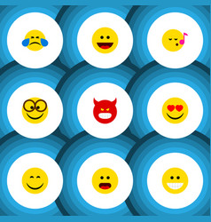 Flat icon expression set of descant cold sweat vector