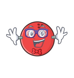 Geek bowling ball character cartoon vector