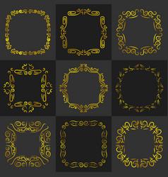 Golden vintage frame decoration set vector