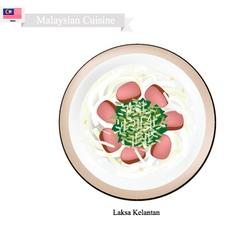 Laksa Kelantan or Malaysian Rice Noodle Soup vector image vector image