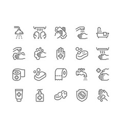 line hygiene icons vector image