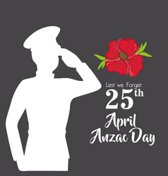 Military anzac day memory soldier vector