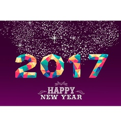 New year 2017 colorful low poly card design vector