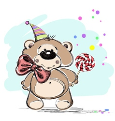 Nice little bear and candy vector image vector image
