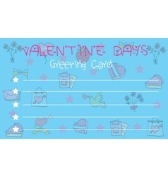 On blue background greeting card valentine vector