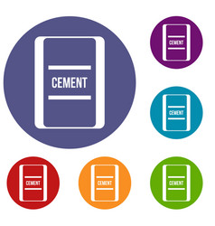 One bag of cement icons set vector