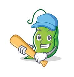 Playing baseball peas character cartoon style vector