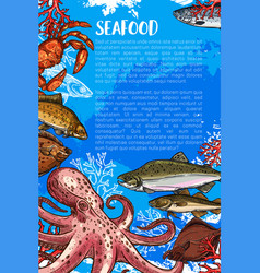 poster for seafood sketch fish food market vector image vector image
