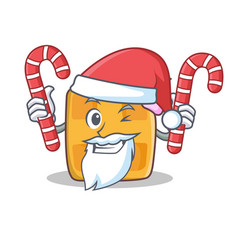 Santa waffle character cartoon design with candy vector