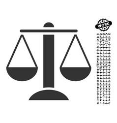 Scales icon with work bonus vector