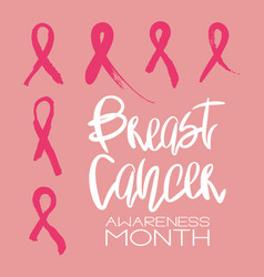 Set of 6 pink ribbons - breast cancer symbol vector