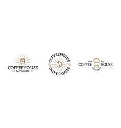 set of coffee logo emblem design templates vector image
