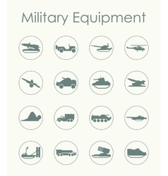 Set of military equipment simple icons vector image