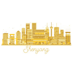 shenyang china city skyline golden silhouette vector image vector image